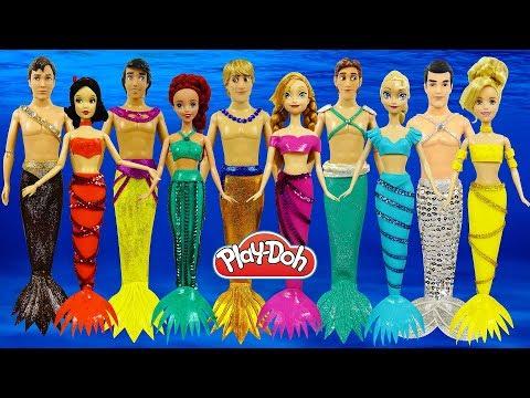 Куклы Принцессы Диснея Русалки Наряды русалок из Плей До. Поделки из пластилина Play Doh Игрушки +1