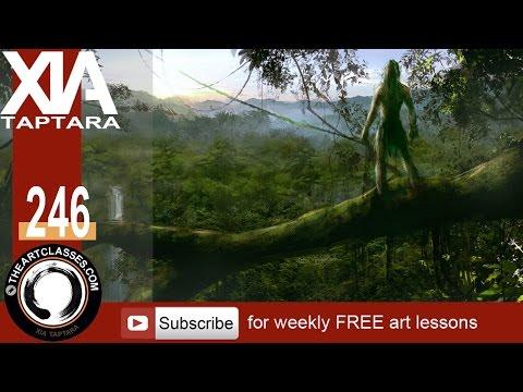 Digital painting tutorial Tarzan looking over the jungle