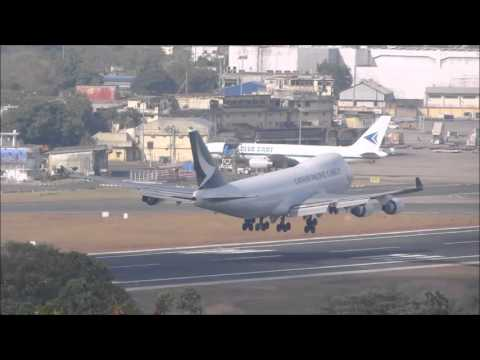 Cathy Pacific Cargo 747-400ERF lands at Chennai Airport