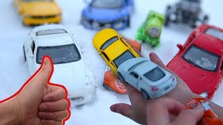 Under Snow and Learning Name and Color from Toys, Coupe, Train, Racing Car