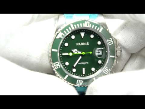 PARNIS AUTOMATIC SUBMARINER GREEN DIAL GREEN CERAMIC BEZEL GREEN HANDS