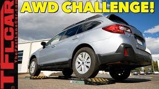 The Truth About Subaru's Symmetrical All Wheel Drive:TFL Slip Test vs Subaru Outback