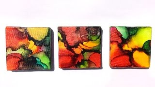 Abstract painting tutorial with Alcohol Inks on small, stretched canvases