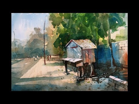 Watercolor Painting demonstration step by step in real time video.