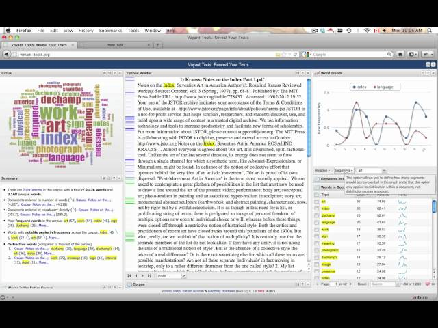 Voyant Word Trends Tool