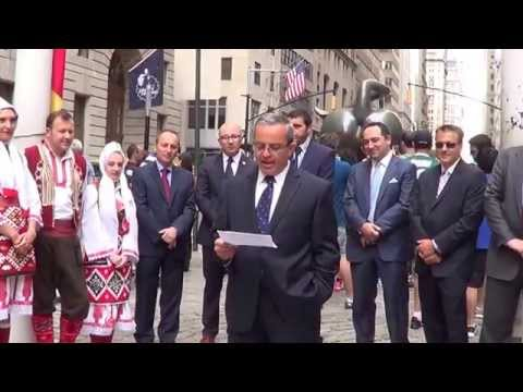 Historic Macedonian Independence Day Flag Raising on Wall Street, in the City of New York