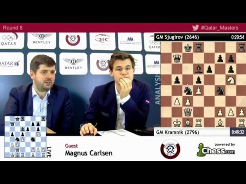 Magnus Carlsen beats Shakhriyar Mamedyarov, rd8 post game analysis - Qatar Masters Open 2015