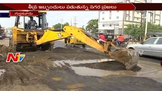 People Face Problems with Damaged Roads in Guntur