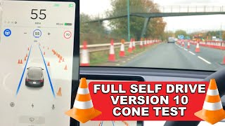 Amazing Traffic Cone Detection & Variable Speeds Testing - Tesla Full Self Drive Autopilot V10