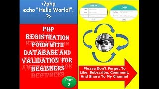 PHP Registration Form With Database And Validation For Beginners Part 2