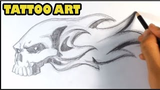 How to Draw a Skull on Fire - Skull Drawings - Draw Tattoo