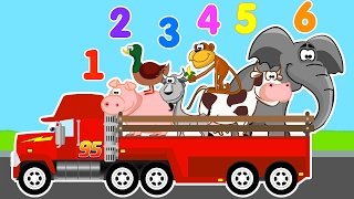 LEARN NUMBERS with MACK TRUCK Animal Transporter & Cars Cartoon for Kids Learn Animals for Children