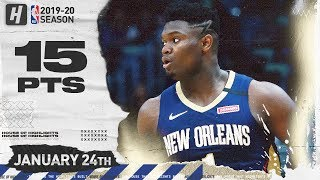Zion Williamson 2nd NBA Game, 15 Points Full Highlights | Nuggets vs Pelicans | January 24, 2020
