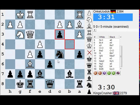 Chess World.net: Blitz #1944 vs OnkelJodok (2384) - Sicilian: Najdorf, Lipnitzky attack