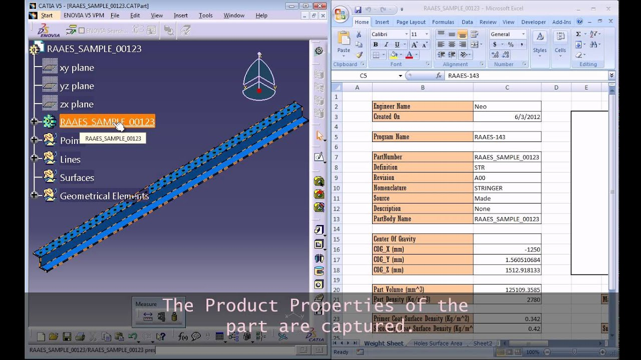 catia macro for automatic weight sheet creation