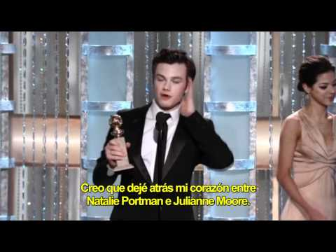 Chris Colfer gana Golden Globe (subtitulado) HD