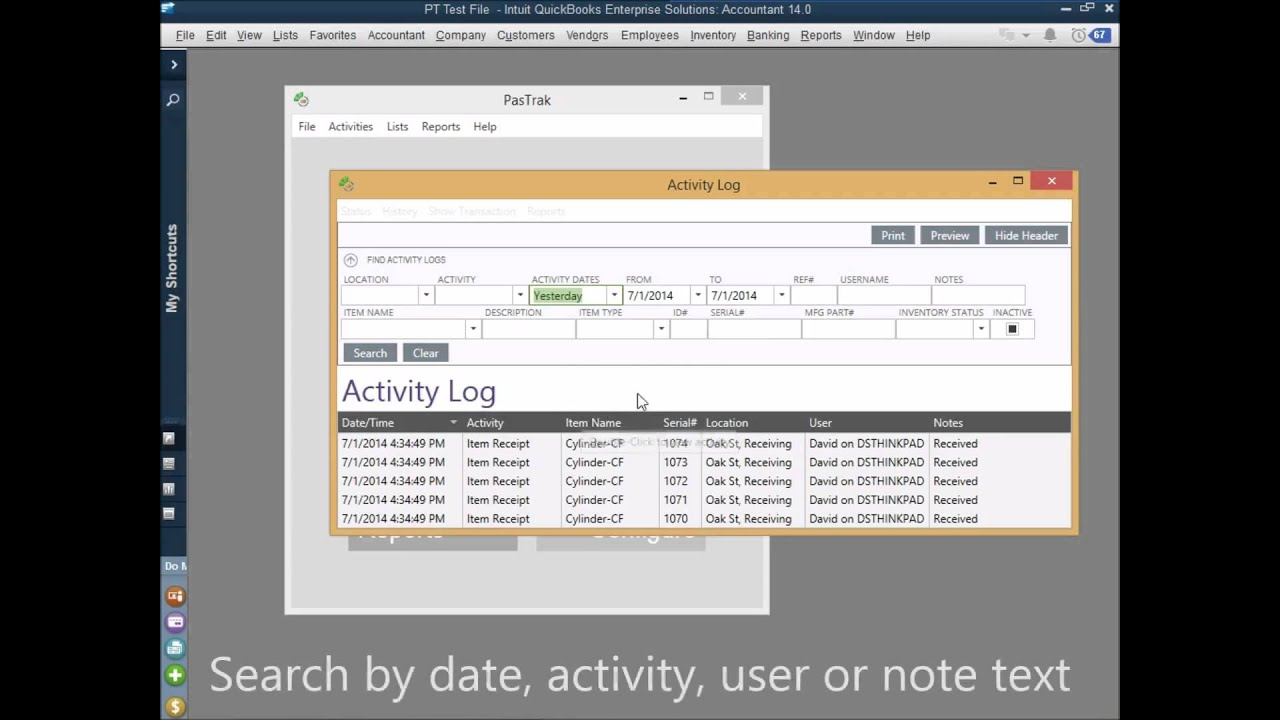 PasTrak RFID Software for QuickBooks - How to check activity logs ...