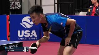 2019 US National Table Tennis Championships - Mens Singles QF -  Kai Zhang vs Zhou Xin (Highlights)