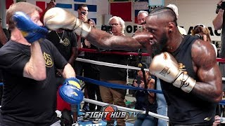 POWER ON FULL DISPLAY - DEONTAY WILDER'S FULL MITT WORKOUT AS HE PREPARES FOR TYSON FURY