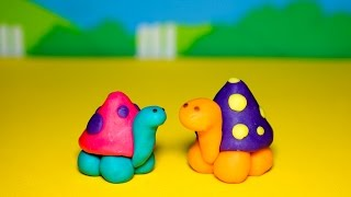 Play Doh playset -  How to make a little cute turtle