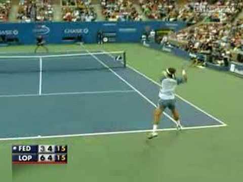 Roger Federer vs Feliciano Lopez - Us Open 2007 (1/2)