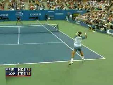 Roger Federer vs Feliciano Lopez - Us Open 2007 (1/2) Video
