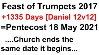 1335 days of Daniel 12v12 found between Feast of Trumpets and Pentecost [CHART]