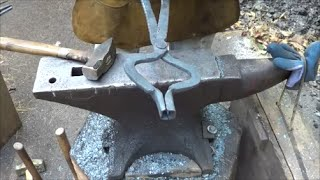 Blacksmithing - Forging Bolt Tongs From Rebar - Ugly But Functional