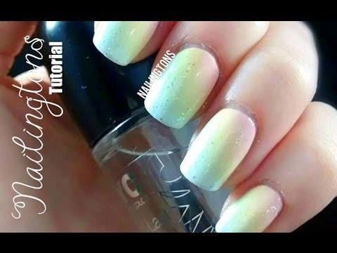 Easy Nail Art Pastel Rainbow
