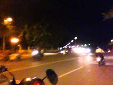 Three Deep on a Motorbike
