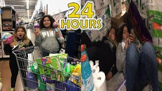 24 HOURS OVERNIGHT SLIME SUPPLIES SHOPPING CHALLENGE - 24 HOURS SLIME SUPPLY SHOPPING CHALLENGE