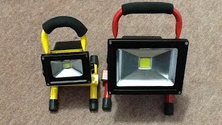 A look inside a 20W rechargeable LED work light.