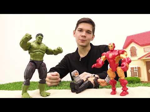 Супергерои: видео с игрушками. Халк против Бейна и Железного Человека! Фабрика Героев.