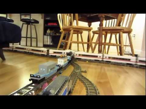 LEGO Maersk 10219 switching between main lines with TGV, ICE 3, and Thomas the Tank Engine