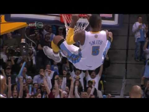 San Antonio Spurs - Denver Nuggets great dunk by J R Smith 16 12 2010.