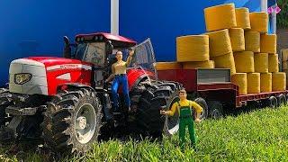 BRUDER Toys Farm TRAKTOR McCormick Pulls BIG Low loader truck.