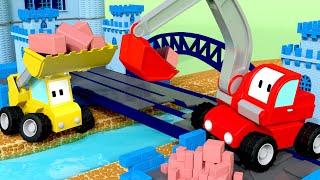 The Bridge across the River - Tiny Trucks for Kids with Street Vehicles Bulldozer, Excavator & Crane