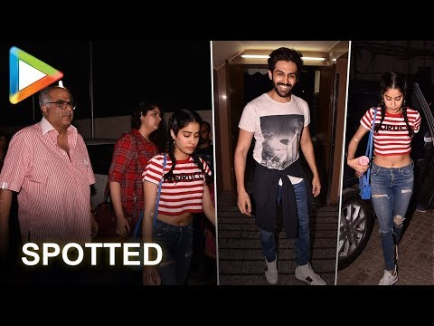 Janhvi Kapoor, Boney Kapoor & Kartik Aaryan SPOTTED late in the night