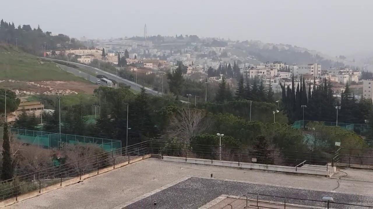 Fim de dia em Jerusalém. Vista do nosso hotel no Monte Scopus.