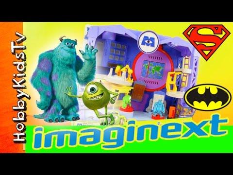 Imaginext Monsters Inc University Scare Floor Batman Superman Flash by HobbyKidsTV