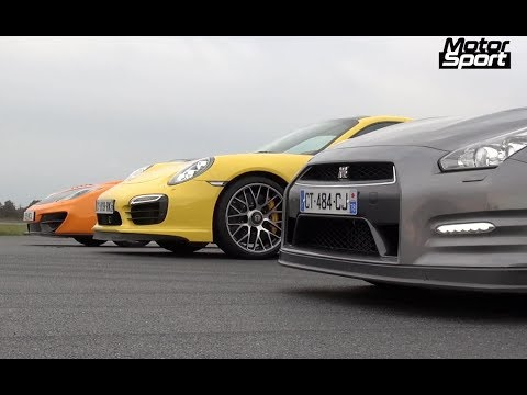 Drag Race : 911 Turbo S VS McLaren 12C VS Nissan GT-R (Motorsport)