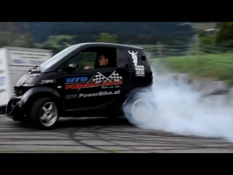 Smart Car with Hayabusa Turbo Engine! Smart Hayabusa Donuts and Burnout. Brutal Exhaust Sound!