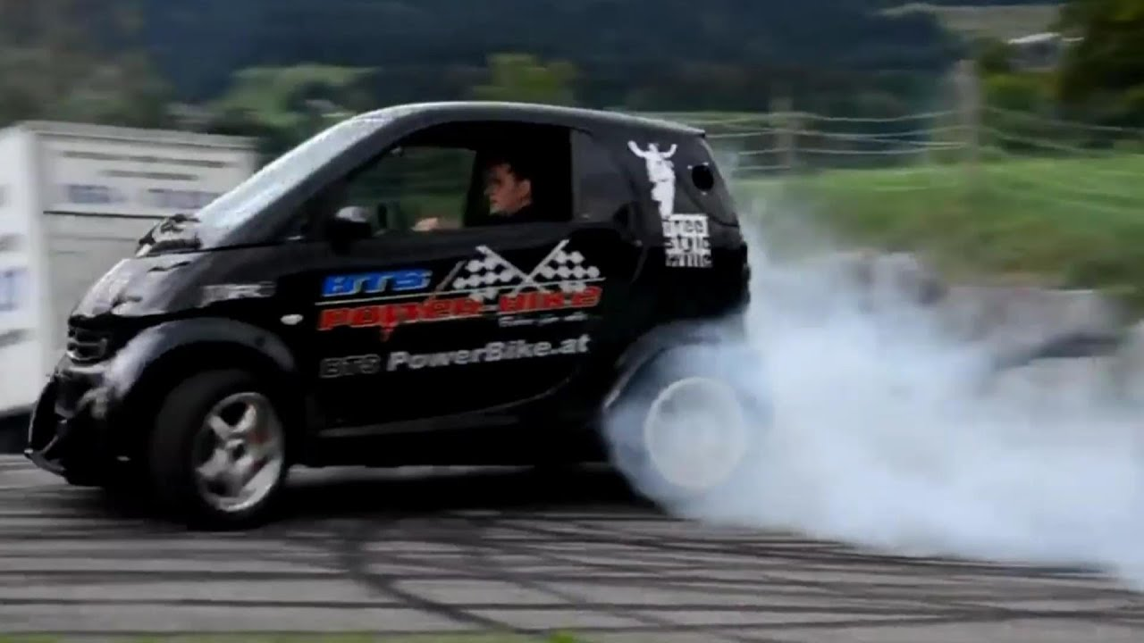 Smart Car With Hayabusa Turbo Engine Smart Hayabusa Donuts And Burnout Brutal Exhaust Sound