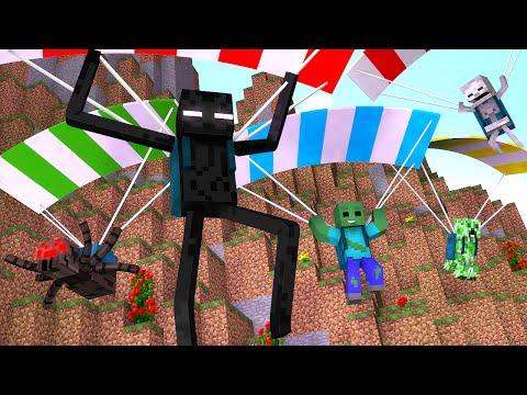 Minecraft : SALTO DE PARAQUEDAS  - Escola Monstro Férias #01   Monster School Minecraft