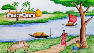 How to draw  scenery of Ruposhi Bangla / landscepe
