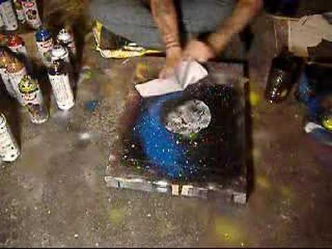 spray paint art space paintings youtube. Black Bedroom Furniture Sets. Home Design Ideas