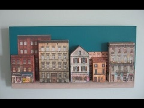 How to create a 3d canvas wall art painting of buildings for How paint on canvas