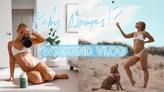 Weekend VLOG: Baby Names, Beach Bump, Workouts + Being Tired!