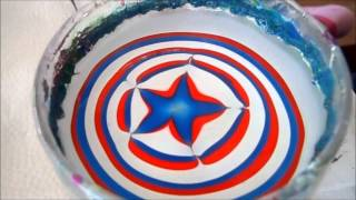Red, white and blue star 4th of July water marble design!