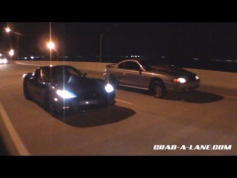 Big Motor Nitrous SN95 Mustang races Nitrous LS3 Corvette for KOTS #3